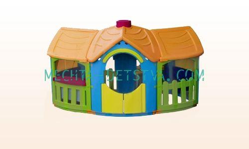 Детский игровой домик с двумя пристройками 666